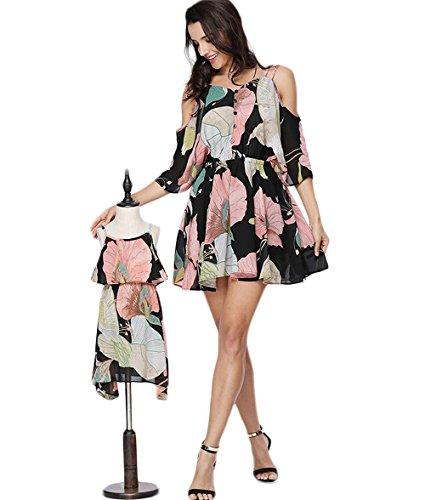 PopReal Mom and Girl Cute Shoulder-Straps Off Shoulder Floral Printed Chiffon Casual Playwear Dress by PopReal