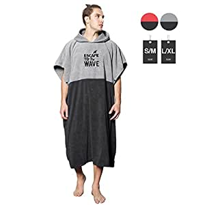 Vulken Extra Large Thick Hooded Beach Towel Changing Robe. Surf Poncho Men and Women for Easy Change in Public. Quick Dry Microfiber Towelling for The Beach, Pool, Lake, Water Park.