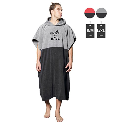 Vulken Extra Large Thick Hooded Beach Towel Changing Robe. Surf Poncho Men and Women for Easy Change in Public. Quick Dry Microfiber Towelling for the Beach, Pool, Lake, Water Park. (Beach Towel Surfing)