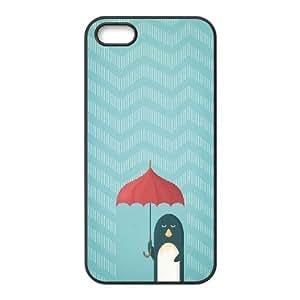 [Cute Penguin] Penguin with Umbrella in the Rain Aztec Pattern Case For Sam Sung Note 4 Cover {Black}
