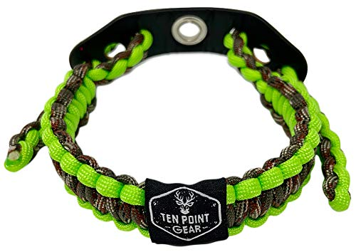 Ten Point Gear Bow Archery Wrist Sling 550 Paracord - Survival Hunting Shooting - Durable Leather with Metal Grommet (Multiple Camo Options) (Flo-Green & Camo)