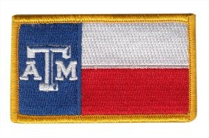 A & M Texas State Flag Patch (Velcro) Full Color, 3-3/8x2