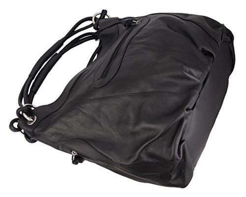 """SLIN GBAG """"Elena III XL Shopper/hombro bolsa de cuero auténtico/Selección de Colores, Marrón anaranjado (marrón) - Elena negro"""