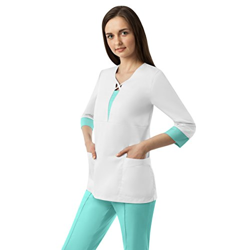 Scrubs-Womens-Medical-Uniform-Doctor-Nurse-Premium-Natural-Top-Pants-Set-by-Kate-Bianco-L-Vera-Classic-White-Fresh-Mint