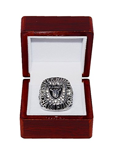 OAKLAND RAIDERS (3X Time Champs) 1976, 1980, 1983 SUPER BOWL WORLD CHAMPIONS Rare & Collectible Replica National Football League Silver NFL Championship Ring with Cherrywood Display Box