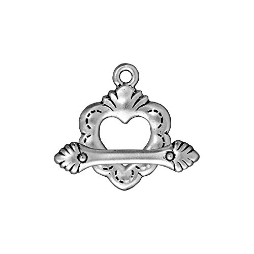 TierraCast Toggle Sacred Heart, 24.5mm, Antiqued Fine Silver Plated Pewter, 2-Set/Pack (Heart Toggle Pewter)