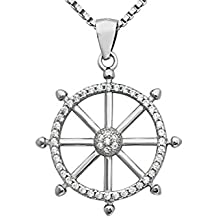 Sterling Silver Ship's Wheel Pendant Necklace W/ CZ