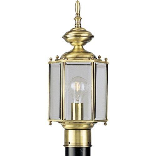 Progress Lighting P5430-10 Hexagonal Post Lantern with Beveled Glass, Polished Brass by Progress Lighting