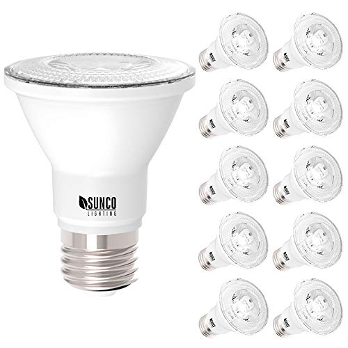 Sunco Lighting 10 Pack PAR20 LED Bulb, 7W=50W, Dimmable, 470 LM, 3000K Warm White, E26 Base, Flood Light for Home or Office Space - UL & Energy Star
