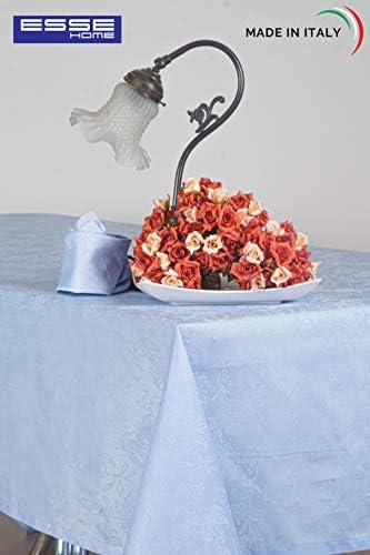 Esse Home - Línea Confestyl - Mantel con 24 servilletas (Servicio Mesa) - Rectangular - Fiandra Jacquard Puro Algodón - Made in Italy - Producto Artesanal - Iris 598 (170x500, Servicio Azul): Amazon.es: Hogar