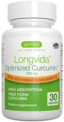 Longvida Optimized Curcumin 500mg, Ultra Bioavailable Sustained Action, Vegan 30 Capsules