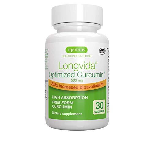 Longvida Optimized Curcumin Supplement 500 Mg, 285X Bioavailability, Vegan - 30 Capsules