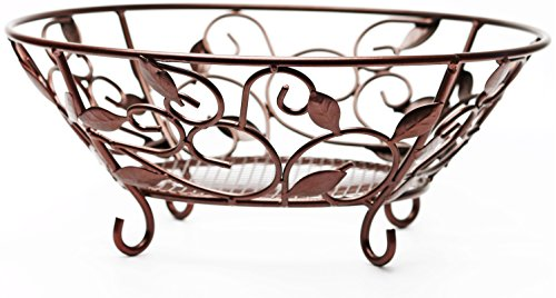 Circleware 00728 Matt Bronze Metal Fruit Dessert Bowl with Leaf Design, 12.25