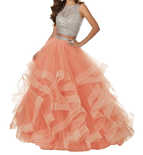 5d57a89300a Bonnie Gorgeous Beaded Bodice Prom Dresses 2018 Long 2 Piece Sexy Open Back Ball  Gowns Ruffled Tulle Formal Evening Dress BS005