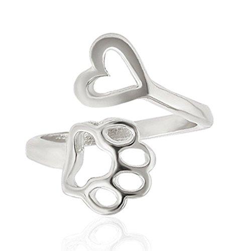 ERAWAN Fashion Women Hollow Paw Print Love Heart Ring Open Adjustable Ring Jewelry EW sakcharn (Silver)