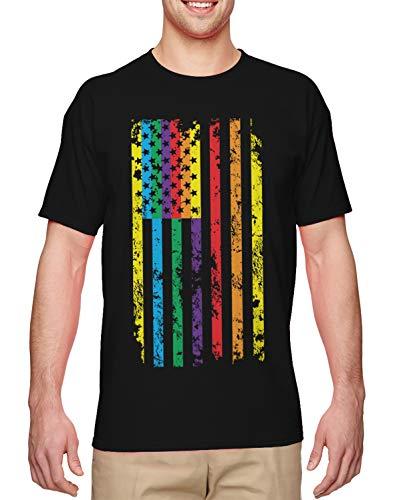 Big Rainbow American Flag - Gay Pride LGBTQ Men's T-Shirt (Black, Large) (Black On Black T Shirt Equal Rights)