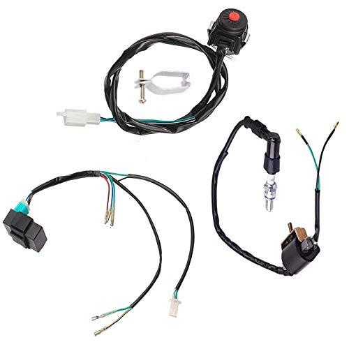 - Engine Wire Harness Wiring Loom CDI Ignition Coil Spark Plug Harness kit for Kick Start 4 stroke 49cc 50cc 70cc 110cc 125cc 140cc 160cc ATV Quad Bike Buggy Go Kart