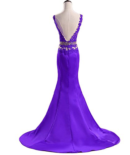 Formal Dresses Prom Neck Women Dress V Long Evening Chupeng Lace Mermaid Boat Ball Back Gown s Purple HznwqZ