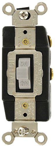 - Leviton 1257-GY 20 Amp, 120/277 Volt, Toggle, Double Throw, Center Off, Momentary Contact, Single-Pole AC Quiet Switch, Industrial Grade, Grounding, Gray