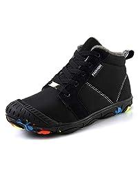 TQGOLD Boys Girls Waterproof Winter Boots Kids Indoor/Outdoor High Top Booties Fully Fur Lined(Little Kid/Big Kid)