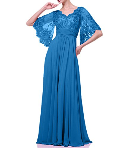 La A Abendkleider Linie 2018 Spitze Blau Chiffon Kleider Jungweihe Festlichkleider mia Braut Lang Ballkleider Rock rqPpr