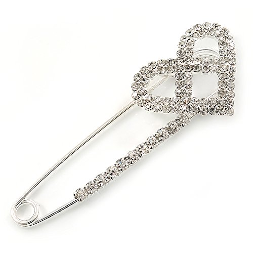 Rhodium Plated Clear Crystal Heart Safety Pin Brooch