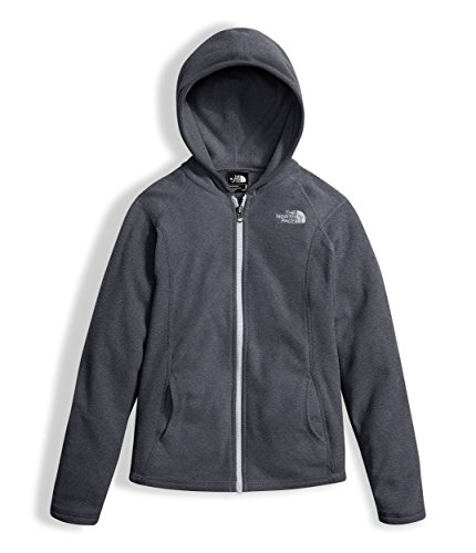 - The North Face Girl's Glacier Full Zip Hoodie - TNF Medium Grey Heather and TNF White - M