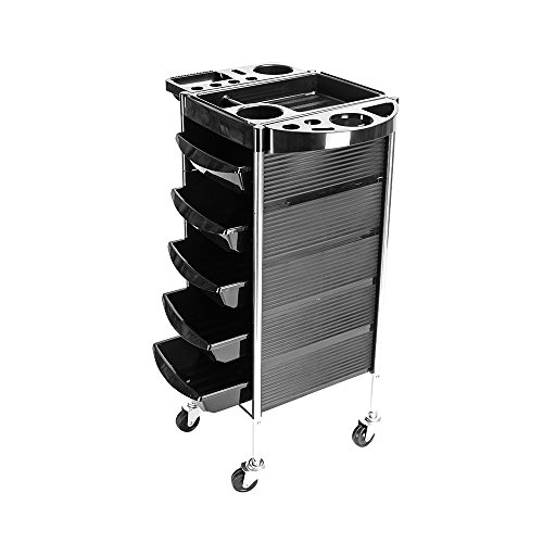 Festnight 5 Tier Salon Rolling Trolley Cart Beauty Hairdressing Barber Tool Storage Organizer Tray Station Portable Hair Styling Equipment with Wheels Black