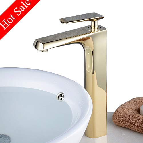 Modern Contemporary Bathroom Vessel Bowl Sink Lavatory Commercial Faucet Single Handle One Hole Tall Body Copper Gold Finish