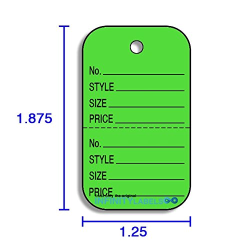 (Small Coupon Tags (1.25 x 1.875) - Fluorescent Green - No. / STYLE / SIZE / PRICE [Black Imprint -)
