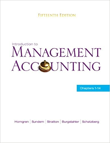 Télécharger le livre en anglais Introduction to Management Accounting: Chapters 1-14 (15th Edition) en français PDF by Charles T. Horngren 0136102778