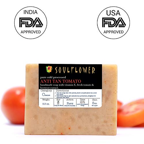 Anti-Tan Tomato Handmade Soap by Soulflower, 100% Natural, Organic, Vegan & Coldprocessed - Skin Brightening, lightens Suntan and cleanses skin - USFDA approved, Indian Formulation, 5.3Oz (Best Tan Removal Soap)