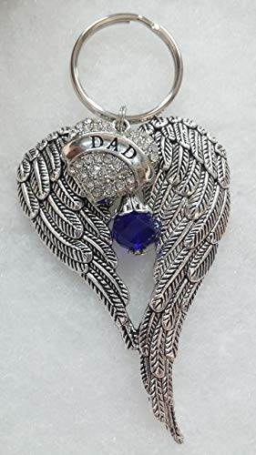 Dad Memorial Keychain Angel Wings w/Crystal Heart In Memory Sympathy Gift