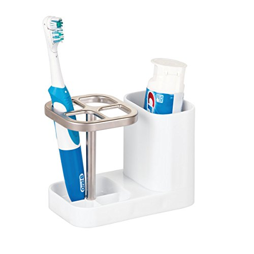 Center Pedestal Sink (mDesign Bathroom Vanity Countertop Toothpaste & Toothbrush Holder Stand with Cup / Dental Center, Holds Electric Toothbrushes – BPA free, White/Satin)