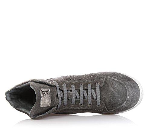 LIU JO - Grauer Sneaker mit Schnürsenkeln, aus Wildleder, seitlich ein Logo und auf der Zunge ein gesticktes Logo, seitlich Applikation, Mädchen, Damen