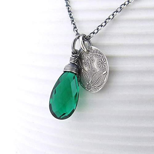 Dark Green Quartz Gemstone Pendant Necklace in Sterling Silver 18 Inch Length - Solo