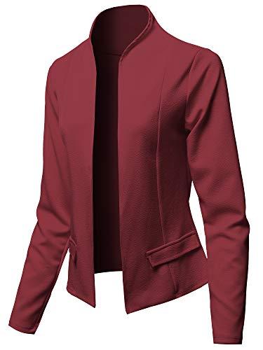 (Solid Classic Lightweight Shrug Blazer Jacket - Made in USA Burgundy Size 3XL)