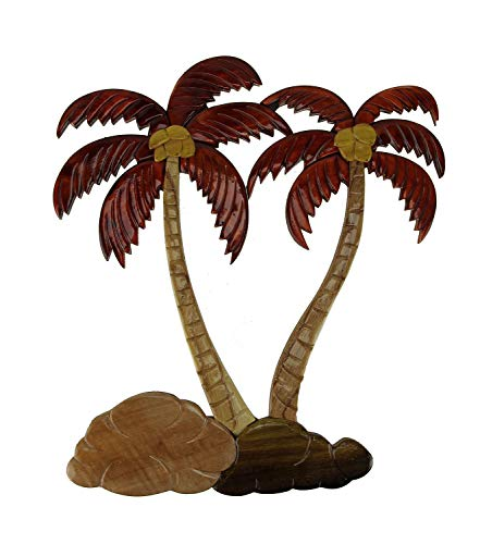 Zeckos Tropical Palm Trees Hand Crafted Intarsia Wood Art Wall Hanging
