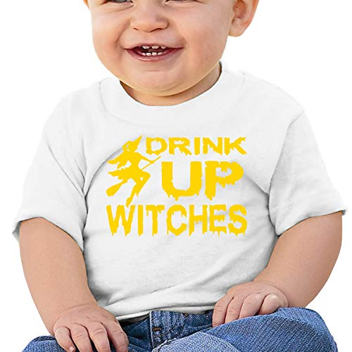 SUMMER1 Funny,Halloween Drink Up Witches Little Boys Short Sleeve Crew Neck T-Shirt Tops Tee 18M -