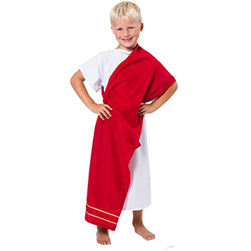 Charlie Crow Greek/Roman Costume for Kids one Size 7-9 Years White and Red -