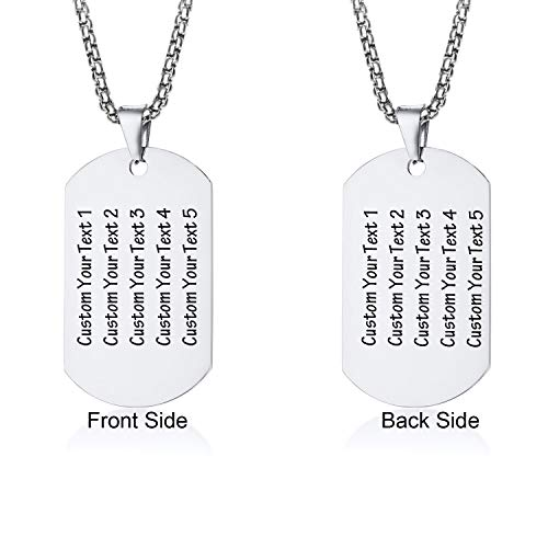 LMXXV Military Army Dog Tag Stainless Steel Pendant Initials Necklace with Free Engraving ()
