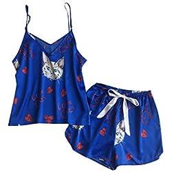 MATERIALAL-sleepwear 2pcs Pijamas Set V k Lindo sin Mangas de la Honda del Gato Atractivo Top de la Camisa de la Blusa Cortocircuitos del Equipo Ropa de Dormir Salto de Cama, Azul, L
