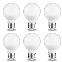 JandCase Small Vanity Light Bulbs, 1/2 Size of G25, 6W, 50W Incandescent Equivalent, 600Lm, Natural Daylight White 4000K, Small in Size But Big in Output, LED Globe Bulbs, E26 Base, 6 Pack