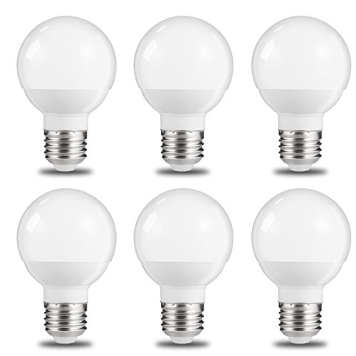 JandCase Small Vanity Light Bulbs, 1/2 Size of G25, 6W, 50W Incandescent Equivalent, 600Lm, Natural Daylight White 4000K, Small in Size But Big in Output, LED Globe Bulbs, E26 Base, 6 Pack (Globe Pendant Small)