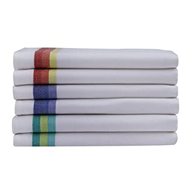 Kitchen Dish Towels set of 12 - Tea Towels by Harringdons, 100% cotton. LARGE Dish Cloths 28 x20  soft and absorbent. White with blue, green and red stripes, 4 of each. Add beauty to kitchen life.