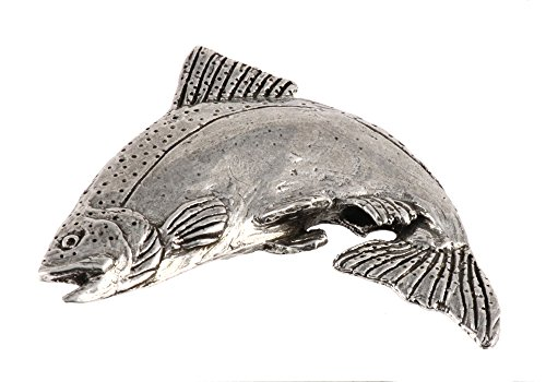 Creative Pewter Designs, Pewter Chinook Salmon Leaping, Handcrafted Freshwater Fish Lapel Pin Brooch, Antique Finish, F043PR (Leaping Fish Water)