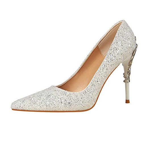 Allhqfashion Womens Puntige Teen Pull-on Pailletten Effen Pumps Met Hoge Hakken-schoenen Wit