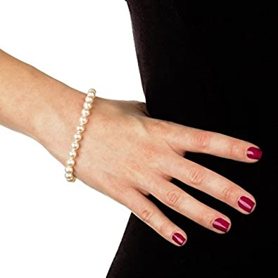 Sterling Silver White Cultured Freshwater Pearl AAA Quality Strand Bracelet