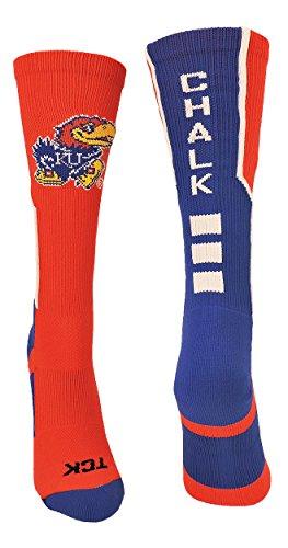 (TCK Sports Rock Chalk Jayhawks Crew Socks (Scarlet/Royal/White, Small))