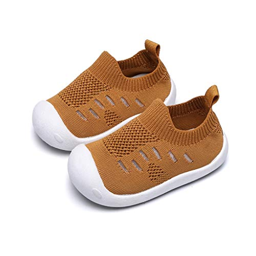 Haalife◕‿¿Kid's Casual Knit Shoes Athletic Walking Shoes Lightweight Mesh-Comfortable Slip on Sneakers Yellow
